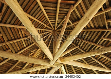 Inside view of a round wooden structure - stock photo