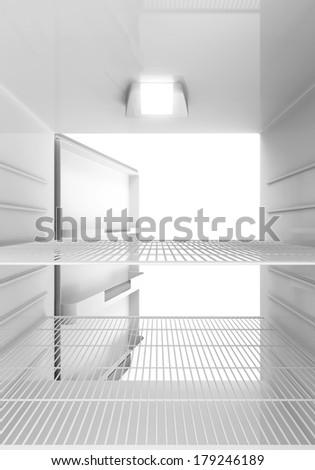 Inside View of an empty Modern Fridge - stock photo