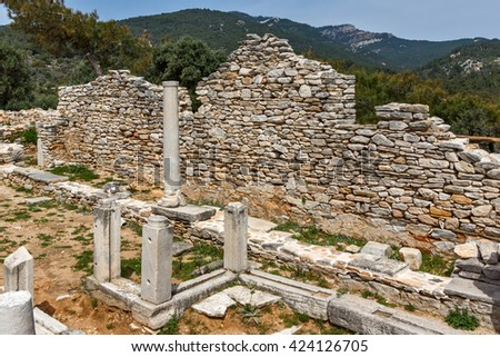 Inside view of  ancient church in Archaeological site of Aliki, Thassos island,  East Macedonia and Thrace, Greece