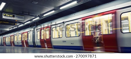 Inside view of London underground - stock photo