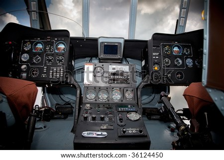 Inside View Of The Helicopter  at the International Aviation and Space salon MAKS - stock photo