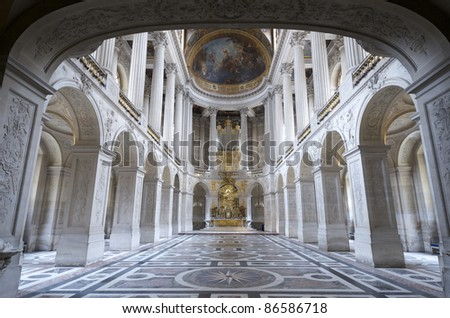 inside view of the Royal Chapelle of Versailles Palace, France - stock photo