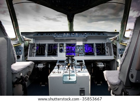 Inside View Of The Sukhoi Superjet 100 at the International Aviation and Space salon MAKS - stock photo
