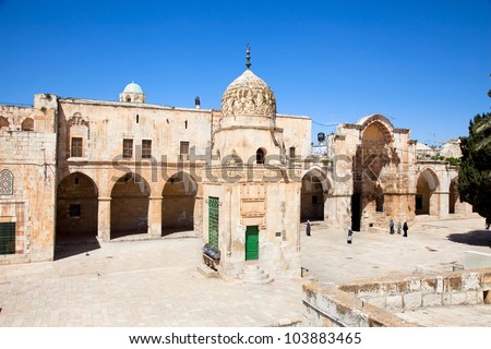 Inside wall of Temple Mount (Har Ha-Bayit) in Old City of Jerusalem. Israel - stock photo