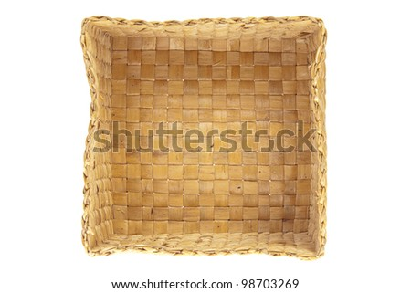 inside wicker basket isolated top view - stock photo