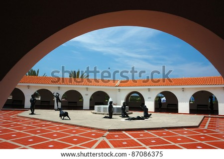 Inside yard of Ralli museum for classical art,Caesarea,Israel.Ralli Museums own the most important collection in the world of contemporary Latin-American art by living artists - stock photo