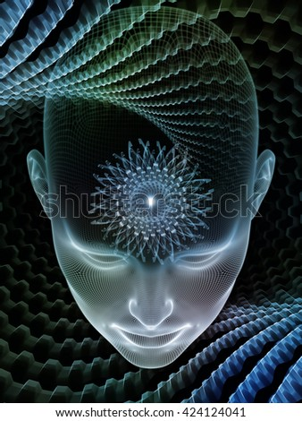 Insight In Mind series. Backdrop of human head rendering and conceptual element on the subject of brain,  thinking, science, technology and education - stock photo