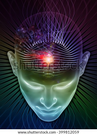 Insight In Mind series. Background design of human head rendering and conceptual element on the subject of brain,  thinking, science, technology and education