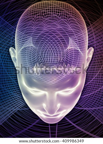 Insight In Mind series. Composition of human head rendering and conceptual element suitable as a backdrop for the projects on brain,  thinking, science, technology and education - stock photo