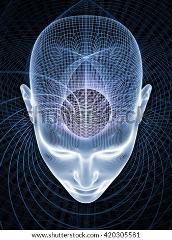 Insight In Mind series. Composition of human head rendering and conceptual element with metaphorical relationship to brain,  thinking, science, technology and education - stock photo