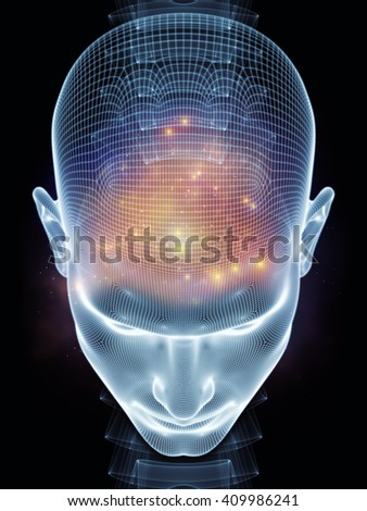 Insight In Mind series. Interplay of human head rendering and conceptual element on the subject of brain,  thinking, science, technology and education - stock photo