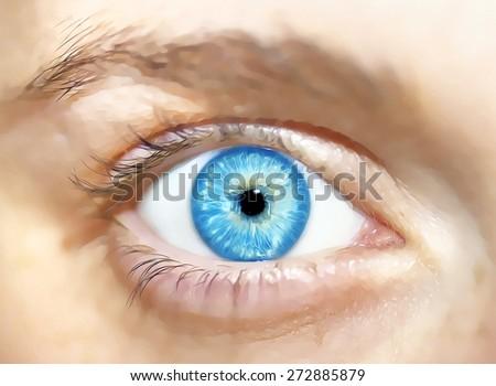 insightful look  cartoon eyes.  - stock photo