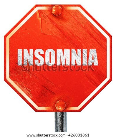 insomnia, 3D rendering, a red stop sign - stock photo