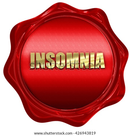 insomnia, 3D rendering, a red wax seal - stock photo