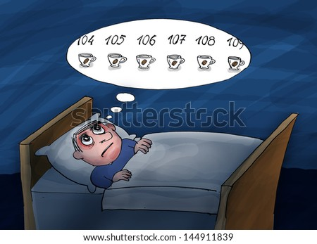 Insomnia. He counting cups of coffee.Too much coffee. Cartoon illustration. - stock photo