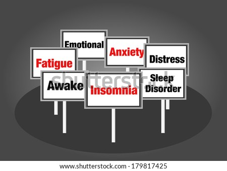 Insomnia signs - stock photo