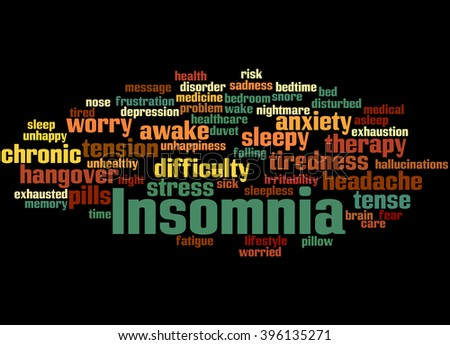 Insomnia, word cloud concept on black background. - stock photo