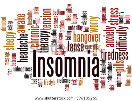 Insomnia, word cloud concept on white background. - stock photo