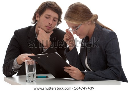 Inspection from finance department in commercial enterprise - stock photo