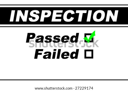 Inspection report results filled out with Passed chosen isolated on white - stock photo