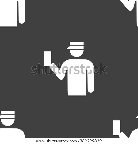 Inspector icon sign. Seamless pattern on a gray background. illustration - stock photo