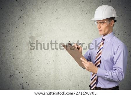 Inspector, osha, Clipboard. - stock photo