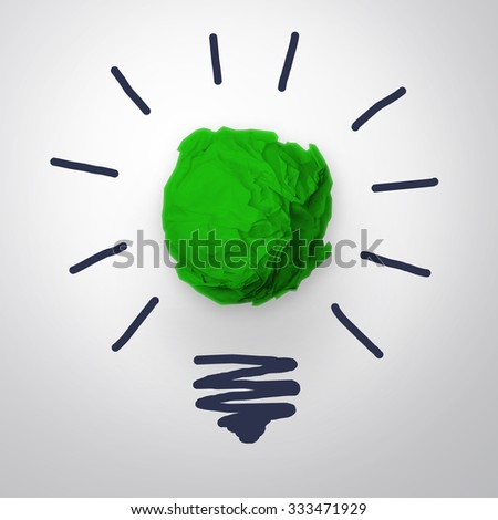 Inspiration concept crumpled green paper light bulb metaphor for good idea. - stock photo