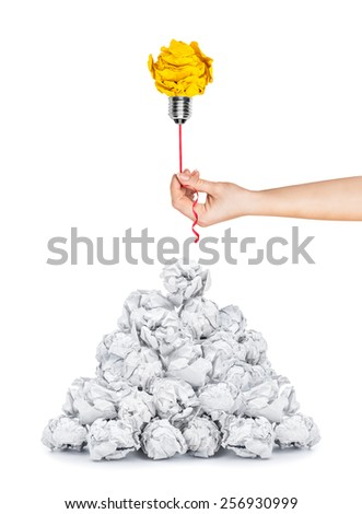 Inspiration concept crumpled paper light bulb metaphor for good idea - stock photo