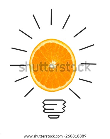 Inspiration concept of orange as light bulb metaphor for good idea - stock photo
