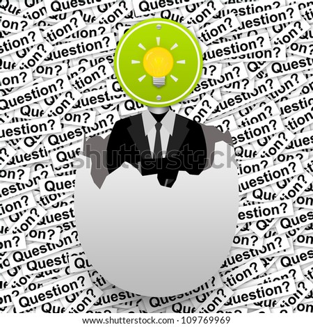 Inspiration Concept, The Yellow Light Bulb Road Sign Head Businessman in The Broken Egg Stand on Many Question Label Background - stock photo
