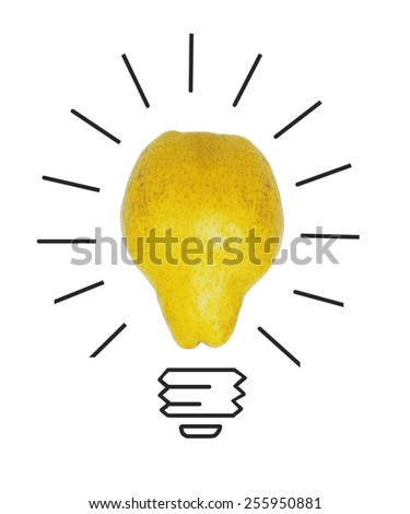 Inspiration concept yellow pear as light bulb metaphor for good idea - stock photo