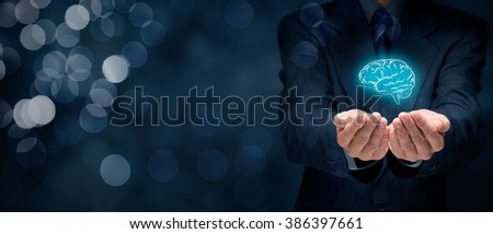 Inspiration, creativity, innovation, intellectual property, business vision, imagination, intelligence, psychologist and mental health concepts. Wide banner composition with bokeh in background.