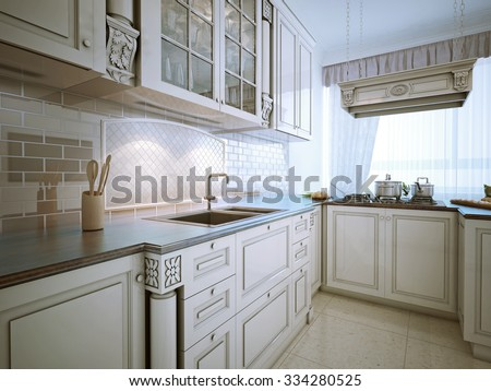 Inspiration for a traditional l-shaped eat-in kitchen with an undermount sink, recessed-panel cabinets, snowy-white cabinets, granite countertops, stone tile backsplash and stainless steel appliances. - stock photo