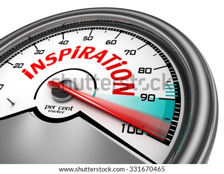 Inspiration level to hundred per cent conceptual meter, isolated on white background - stock photo