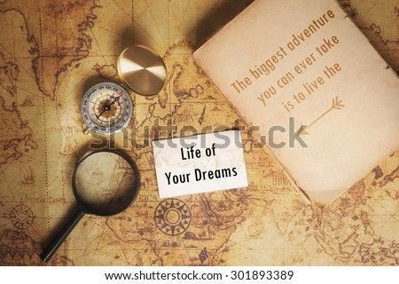 Inspiration Motivational Life Quote on Vintage Map and compass and old book Background Design.