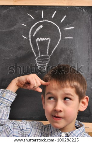 Inspiration of the student by the blackboard-conception - stock photo