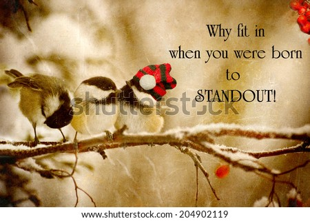 Inspirational quote on individuality by Dr. Suess with a grunge textured image of a special little chickadee wearing his Christmas hat, standing out in the crowd.  - stock photo