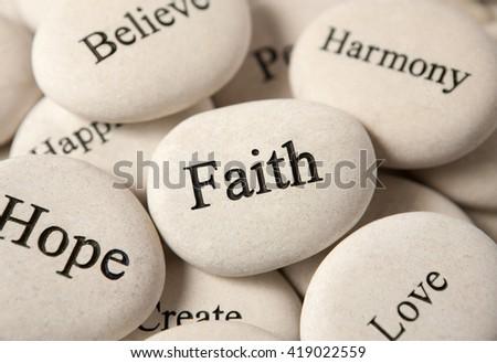 Inspirational stones - Faith - stock photo