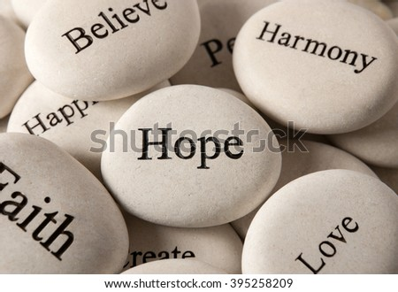 Inspirational stones - Hope - stock photo