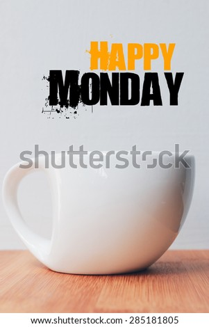 Inspirational Typographic Quote - with coffee cup - stock photo