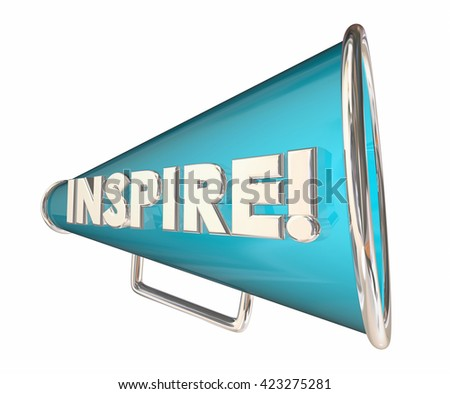 Inspire Bullhorn Megaphone Motivational Word 3d Illustration - stock photo