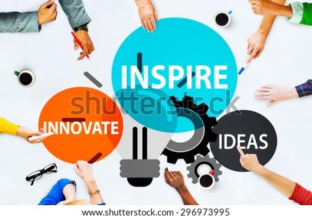 Inspire Ideas Innovate Imagination Inspiration Concept - stock photo