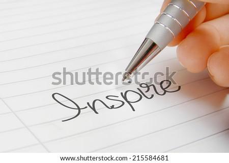 inspire word handwriting - stock photo