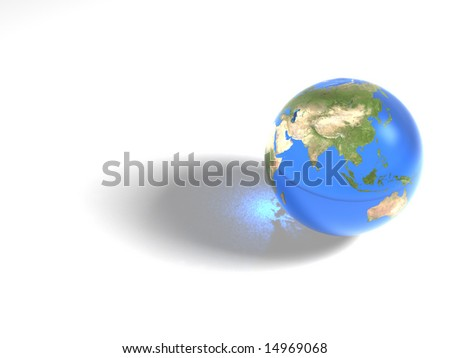 Inspired by NASA images. This is a computer generated 3d earth image, with transparency material. Mapping image credit NASA. - stock photo
