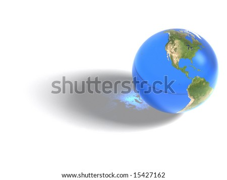 Inspired by NASA images. This is a computer generated 3d earth image, with transparency material. Mapping image credit NASA.
