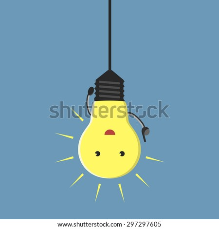 Inspired light bulb character hanging, aha moment - stock photo