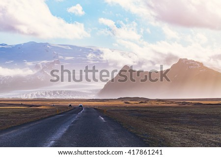 inspiring landscape, road in mountains in Iceland, beautiful nature - stock photo