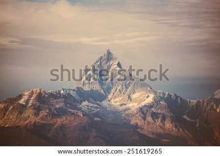 instagram filter Himalaya mountains. - stock photo