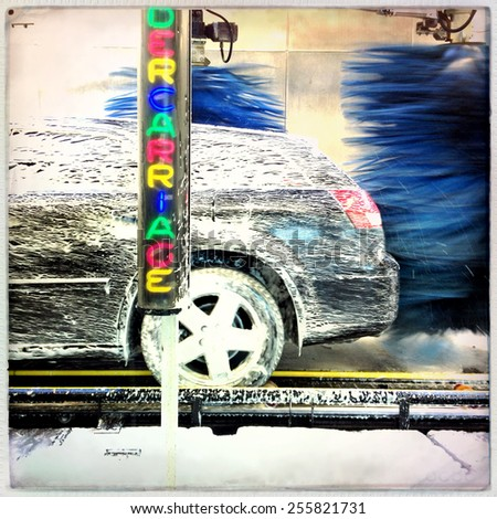 Instagram filtered image of a car wash - stock photo