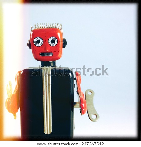 Instagram filtered image of a vintage toy robot - stock photo
